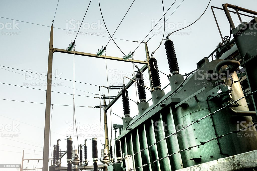 HIGH VOLTAGE TRANSFORMERS stock photo