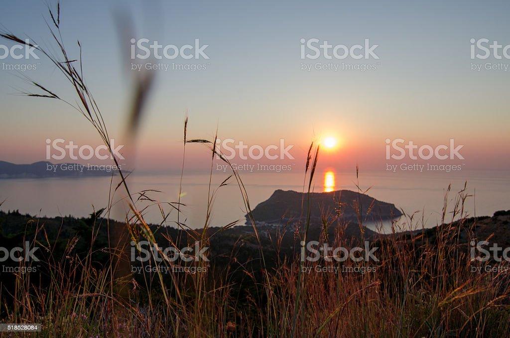 Закат на кефалонии Асос Греция Средеземное море stock photo