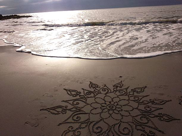freehand mandala on the sand - mandala bildbanksfoton och bilder