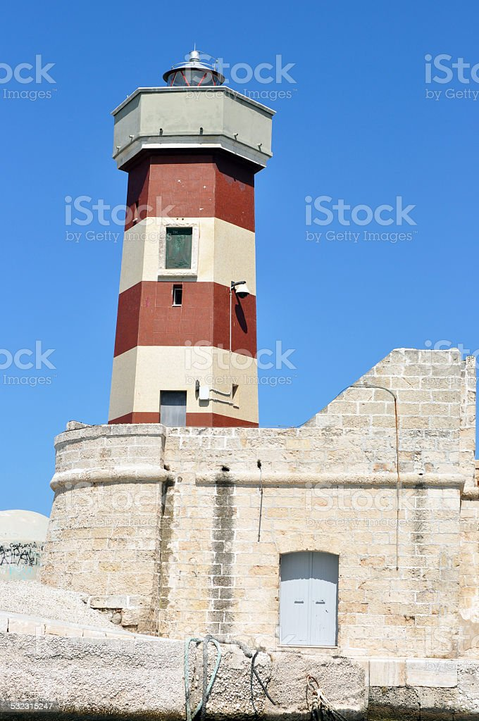 LIGHTHOUSE MONOPOLY IN PUGLIA stock photo