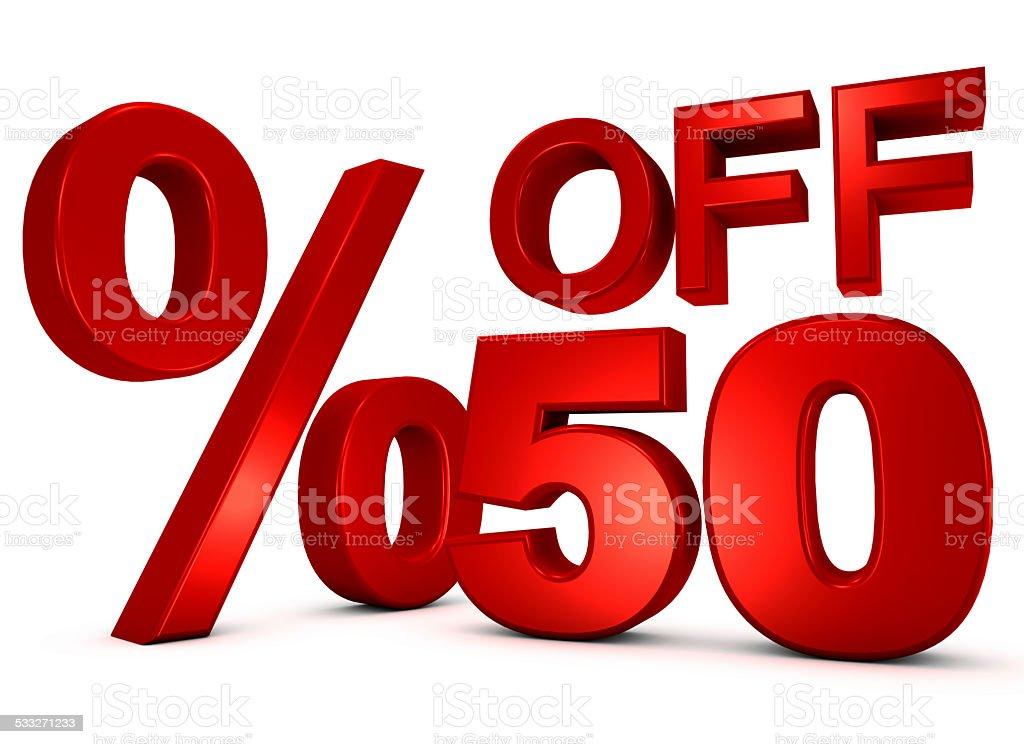 3D SALE - 50% OFF stock photo