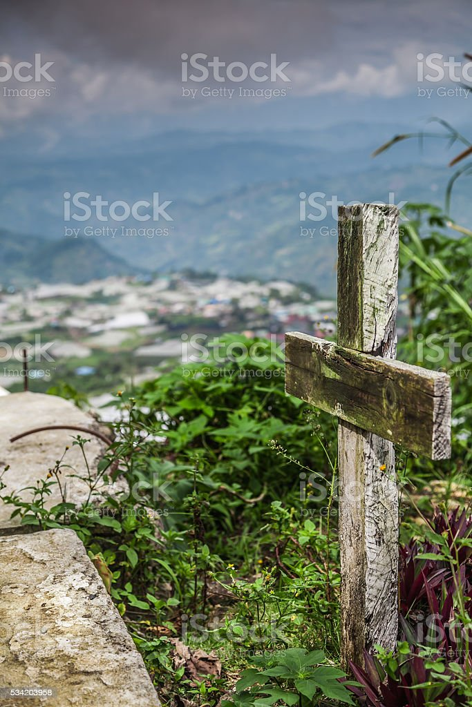GRAVEYARD CROSS ON HILLTOP BAGUIO NORTH LUZON PHILIPPINES stock photo