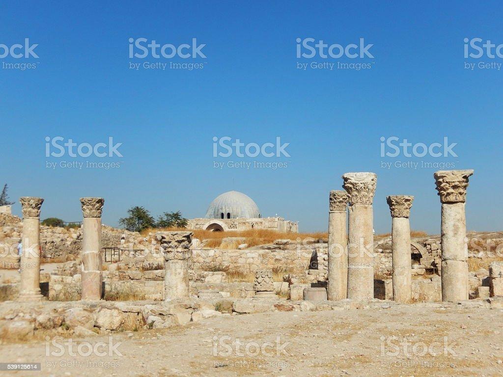 COLUMNS AND UMAYYAD PALACE, AMMAN CITADEL, JORDAN stock photo