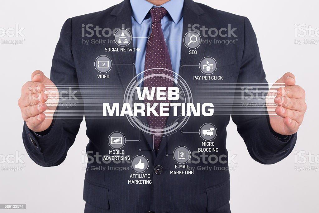 WEB MARKETING TECHNOLOGY COMMUNICATION TOUCHSCREEN FUTURISTIC CO - foto stock