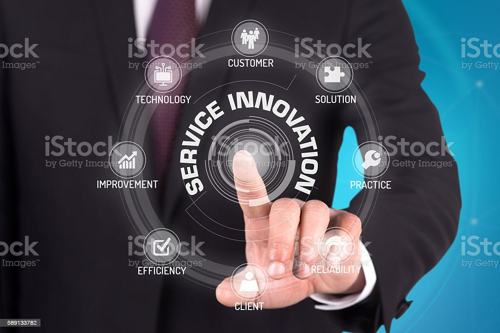 SERVICE INNOVATION TECHNOLOGY COMMUNICATION TOUCHSCREEN FUTURIST stock photo