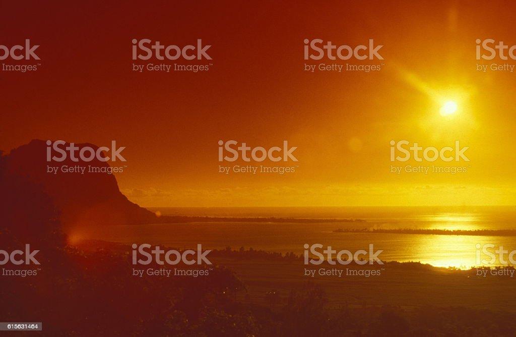 INDIAN OCEAN MAURITIUS TAMARIN LANDSCAPE stock photo