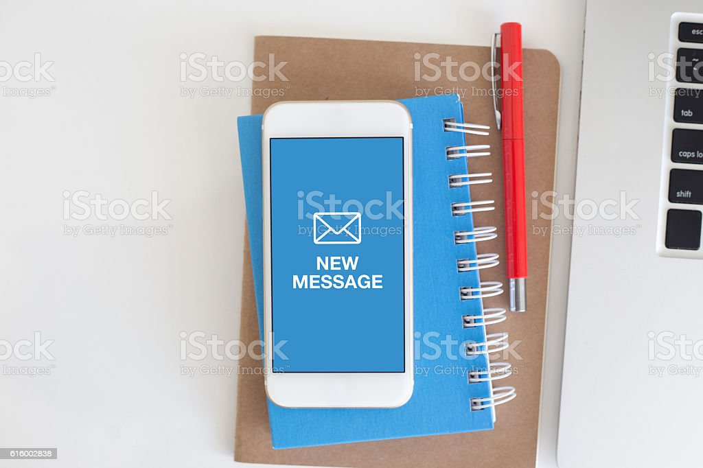 NEW MESSAGE CONCEPT ON SMARTPHONE SCREEN stock photo