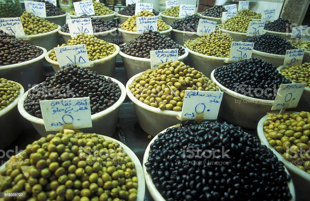 MIDDLE EAST SYRIA ALEPPO OLD TOWN SOUQ MARKET stock photo