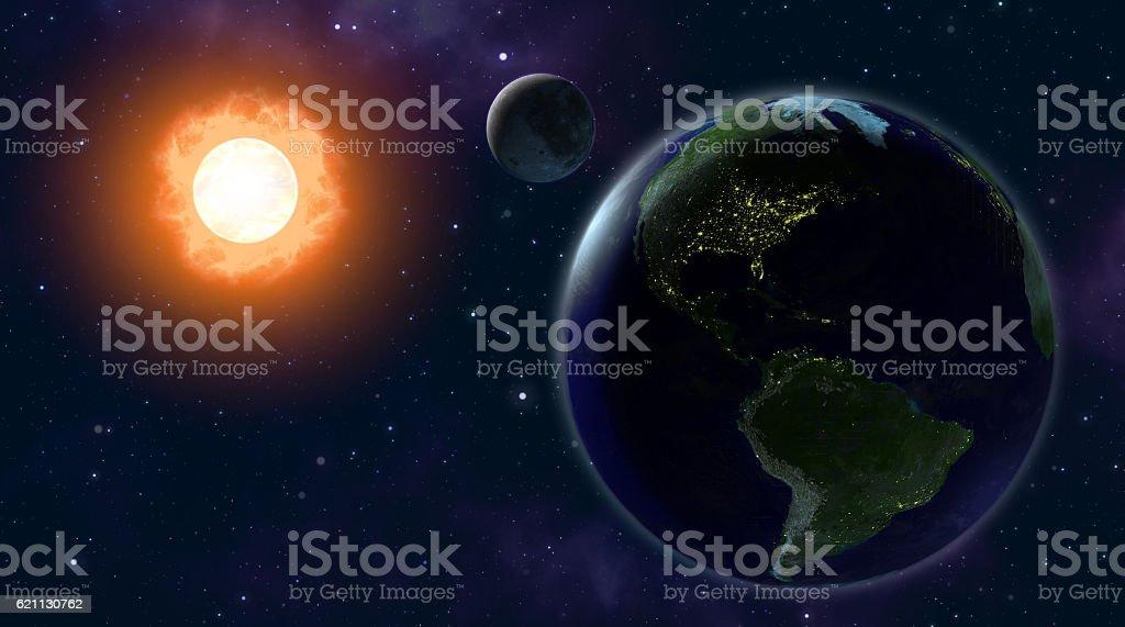EARTH MOON SUN stock photo