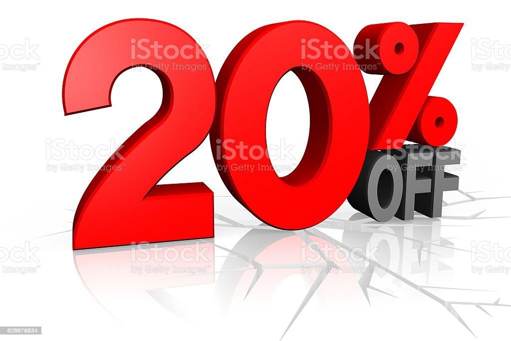 3D SALE - 20% OFF stock photo