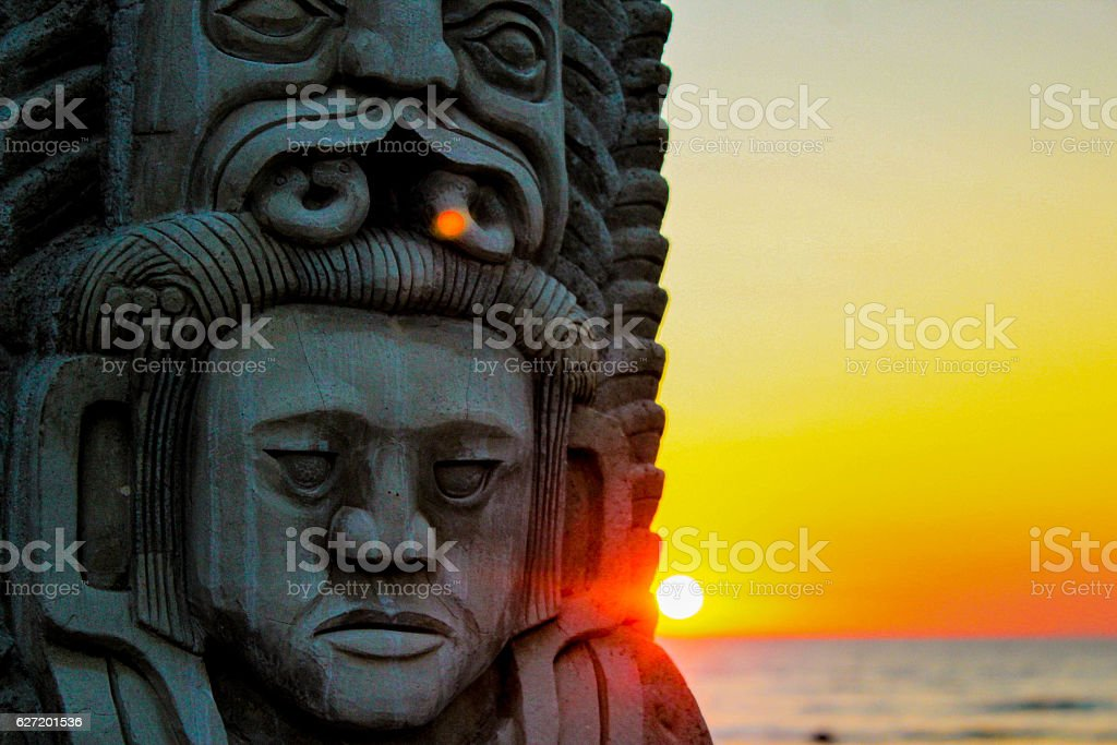 MAYAN SUNSET IN EL SALVADOR stock photo
