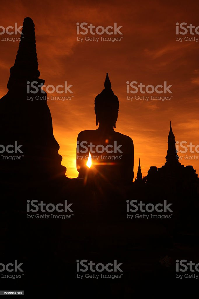 ASIA THAILAND SUKHOTHAI TEMPLE MAHATHAT stock photo