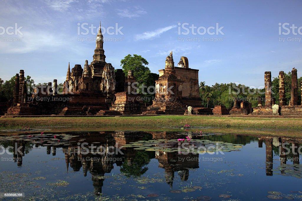 ASIA THAILAND SUKHOTHAI TEMPLE MAHATHAT royalty-free stock photo