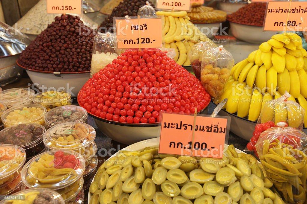 ASIA THAILAND AYUTHAYA MARKET FRUITS SWEETS royalty-free stock photo