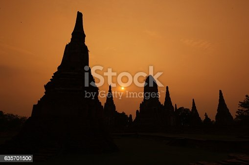 Asia Thailand Ayuthaya Wat Chai Wattanaram Stock Photo & More Pictures of Asia