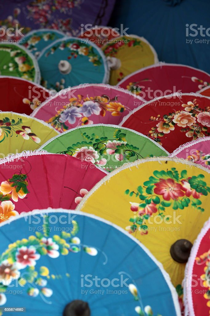 ASIA THAILAND CHIANG UMBRELLA stock photo
