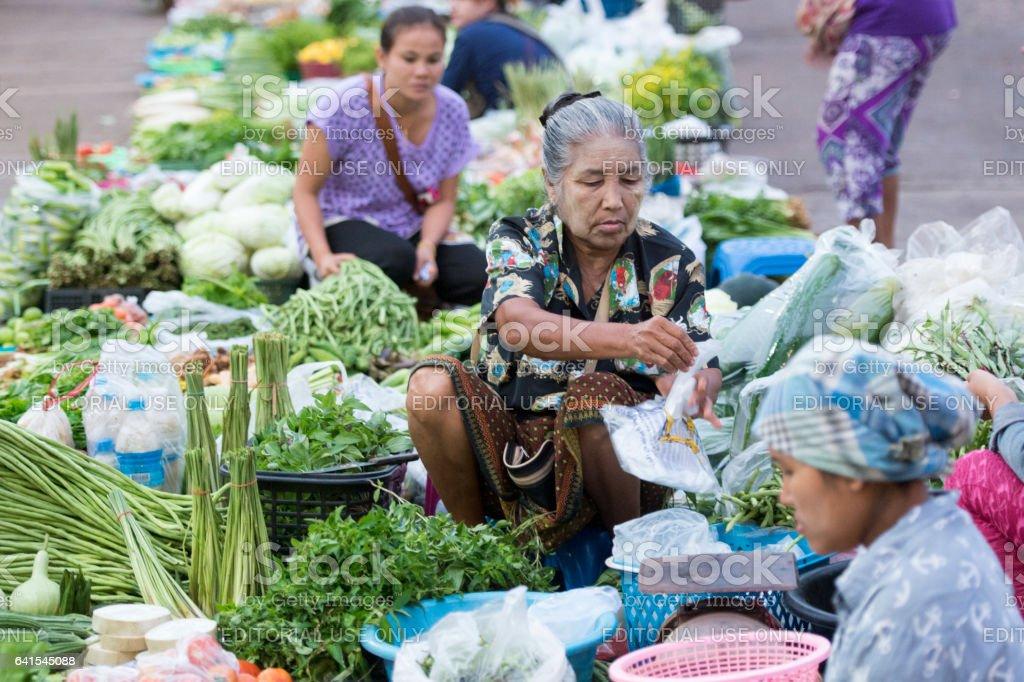 THAILAND KANCHANABURI THONG PHA PHUM MARKET stock photo