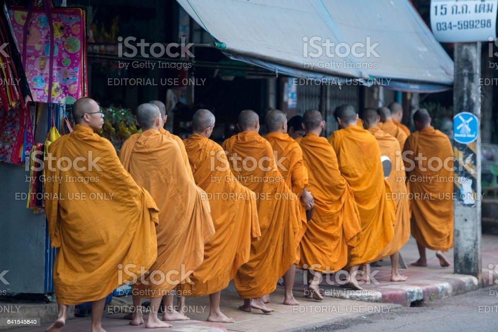 THAILAND KANCHANABURI THONG PHA PHUM MONK stock photo