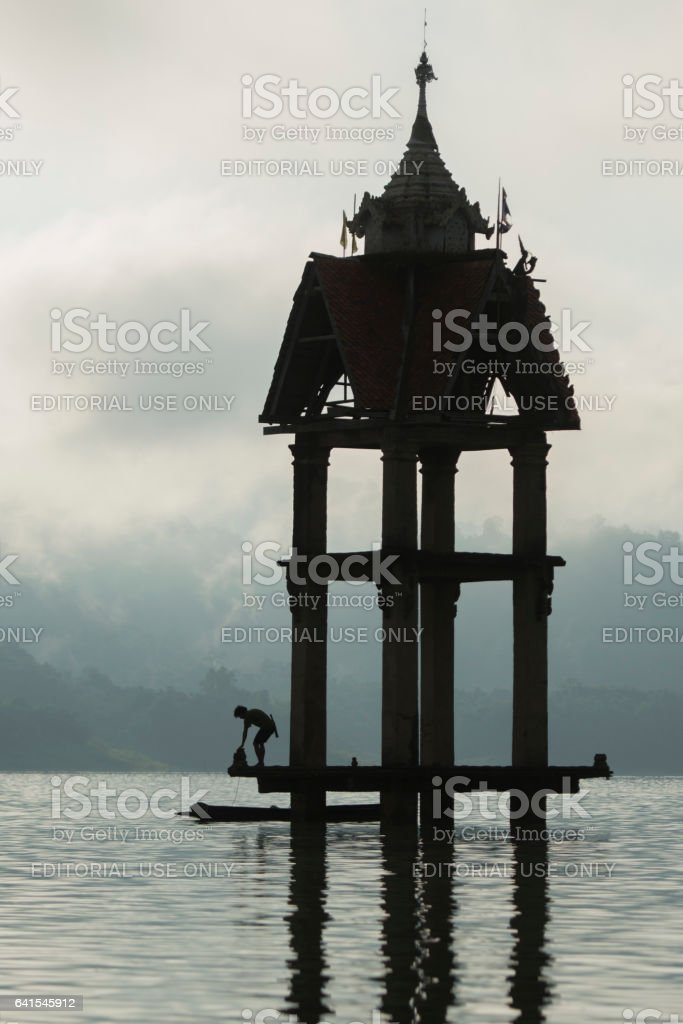 THAILAND KANCHANABURI SANGKHLABURI FLOODET TEMPLE stock photo