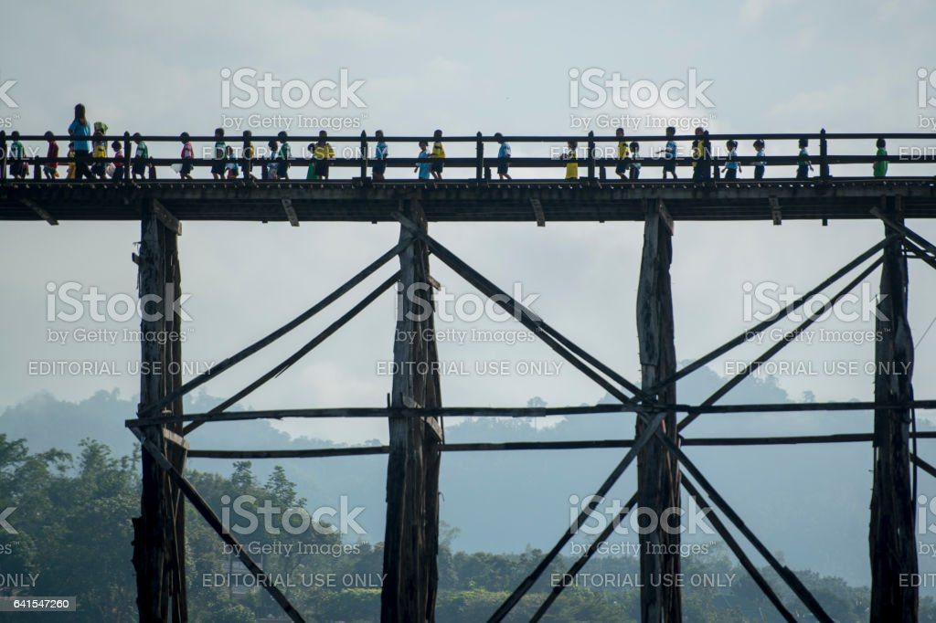 THAILAND KANCHANABURI SANGKHLABURI WOODEN BRIDGE stock photo