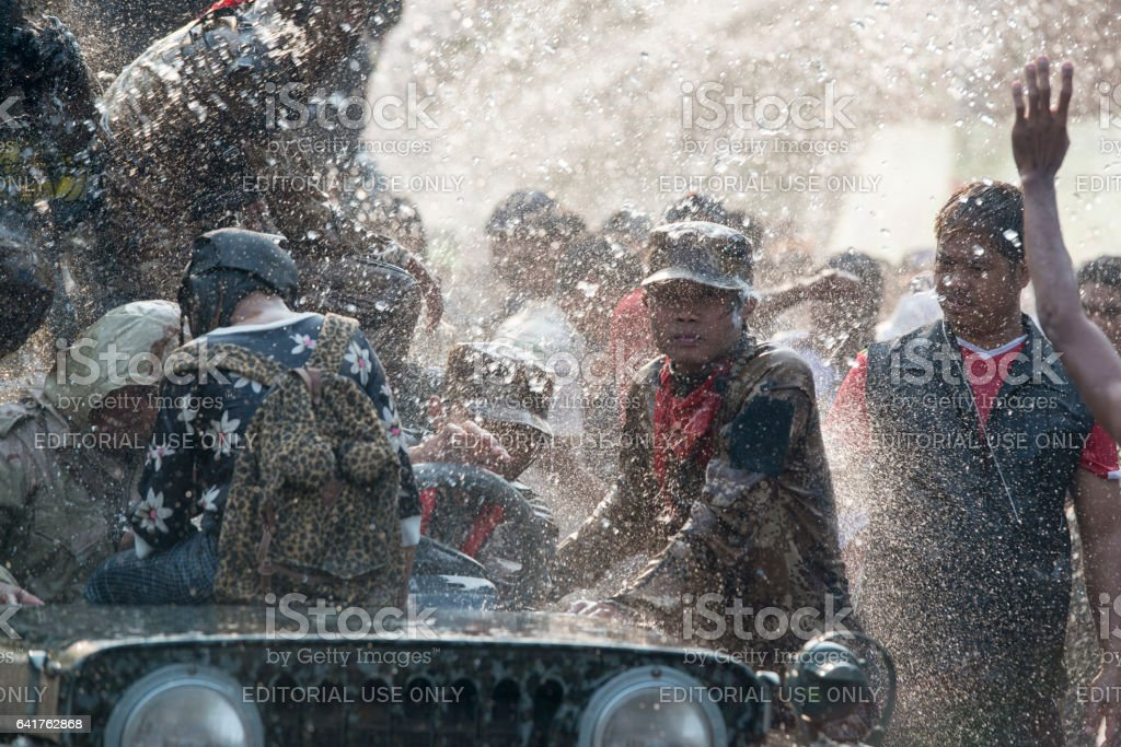 ASIA MYANMAR MANDALAY THINGYAN WATER FESTIVAL stock photo