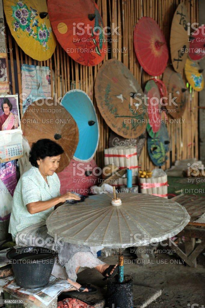ASIA THAILAND CHIANG MAI UMBRELLA stock photo