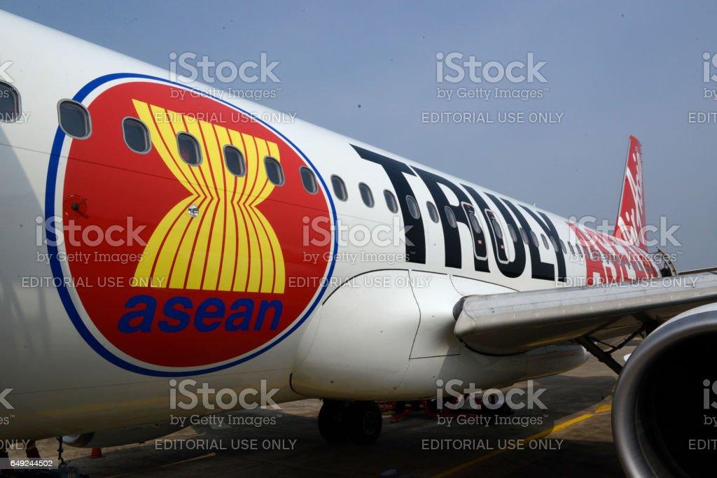 ASIA THAILAND AIRPLANE AIR ASIA ASEAN stock photo