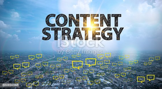 CONTENT STRATEGY text on city and sky background with bubble chat ,business analysis and strategy as concept