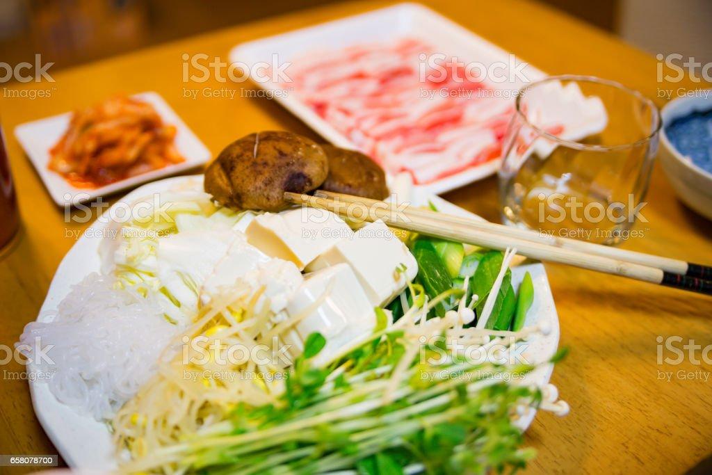 鍋用の野菜セット stock photo