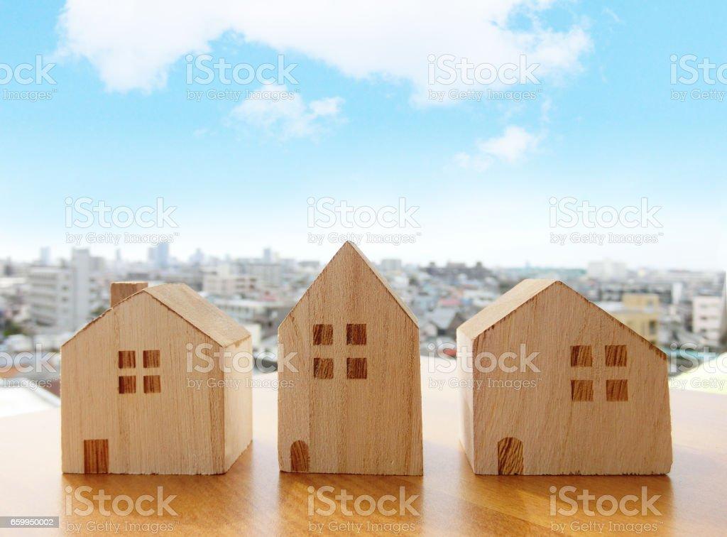 積み木と街並み royalty-free stock photo