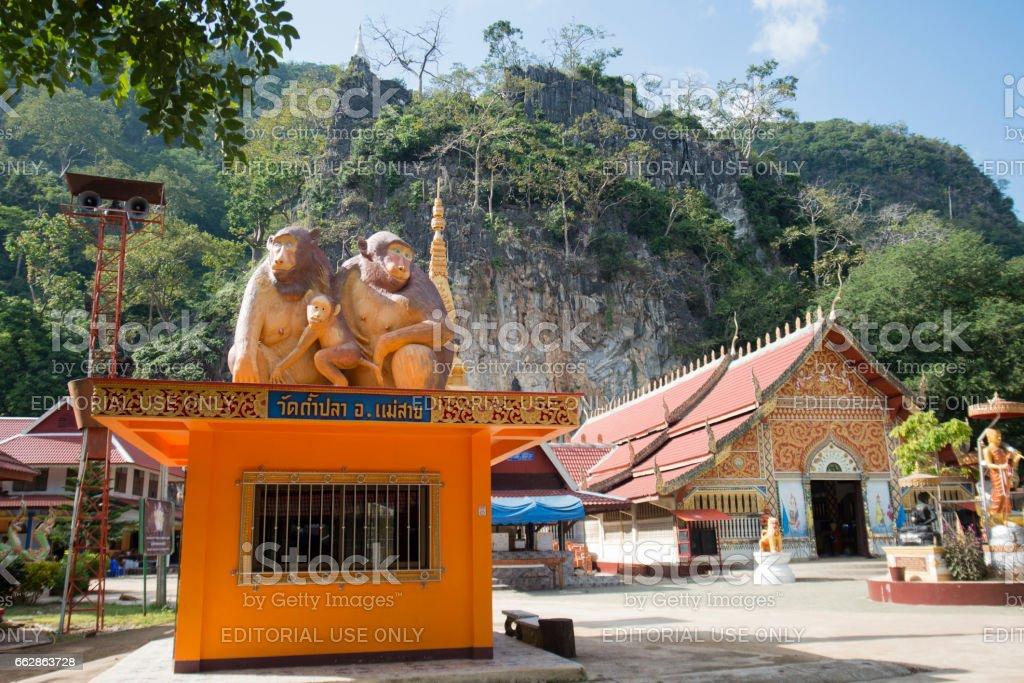 THAILAND CHIANG RAI MAE SAI MONKEY CAVE TEMPLE stock photo