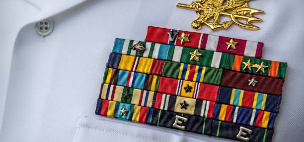 SEAL The military ribbons of a US Navy SEAL. naval base stock pictures, royalty-free photos & images