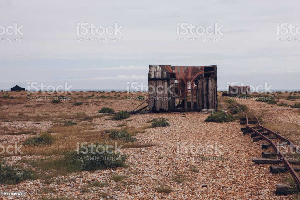 OLD SHACK ON THE BEACH IN WILDERNESS stock photo