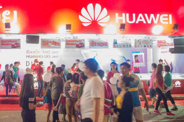 LAOS VIENTIANE PHA THAT LUANG FESTIVAL MARKET a huawei phne shop shop at the market at the Pha That Luang Festival in the city of vientiane in Laos in the southeastasia. huawei stock pictures, royalty-free photos & images