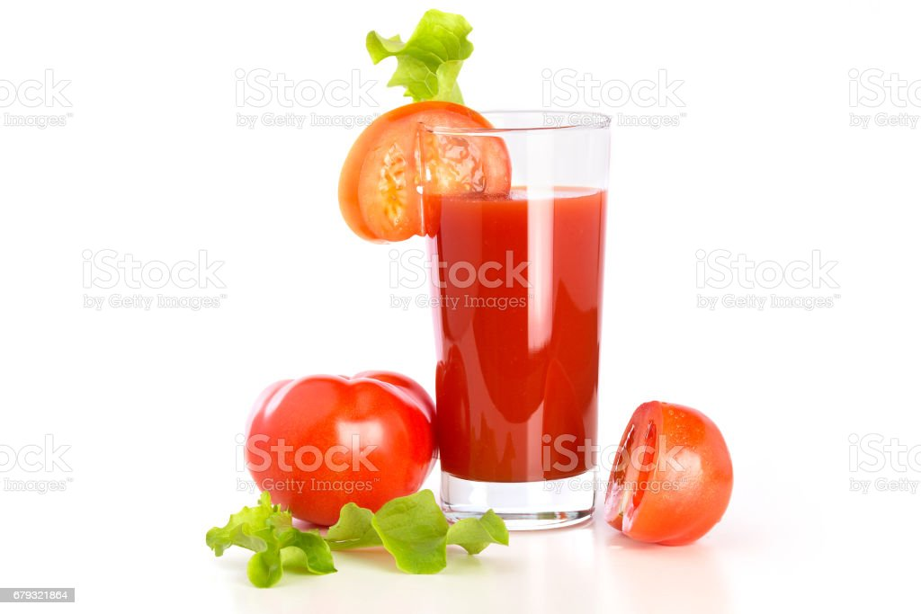 Свежие овощи и томатный сок на белом фоне stock photo