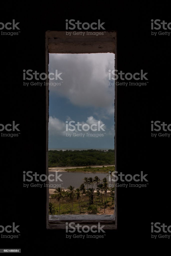 窓から見たブラジルの漁村 Lizenzfreies stock-foto