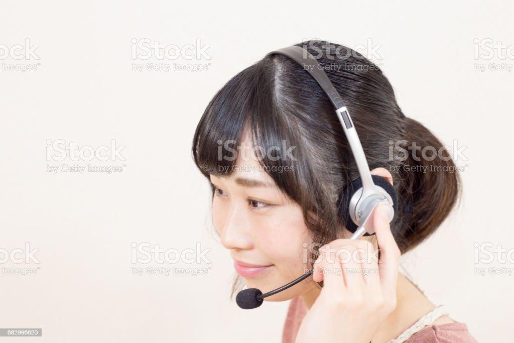 コールセンター 美しい女性 royalty-free stock photo