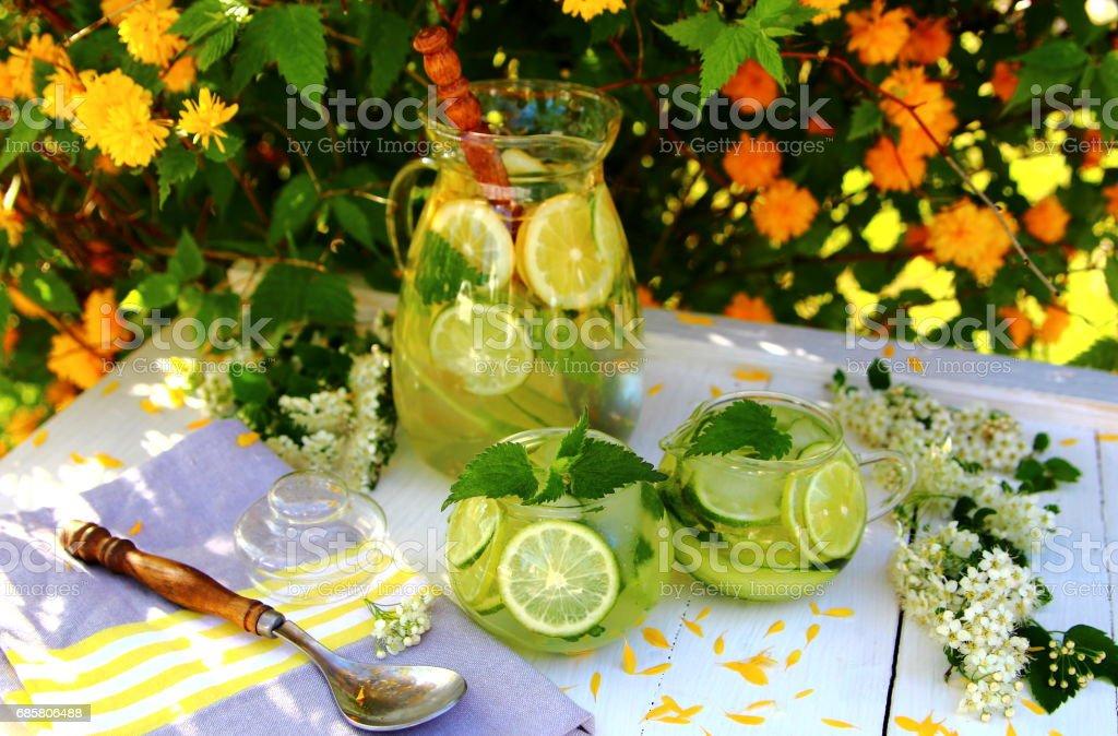 лимонад из лайма и огурца stock photo