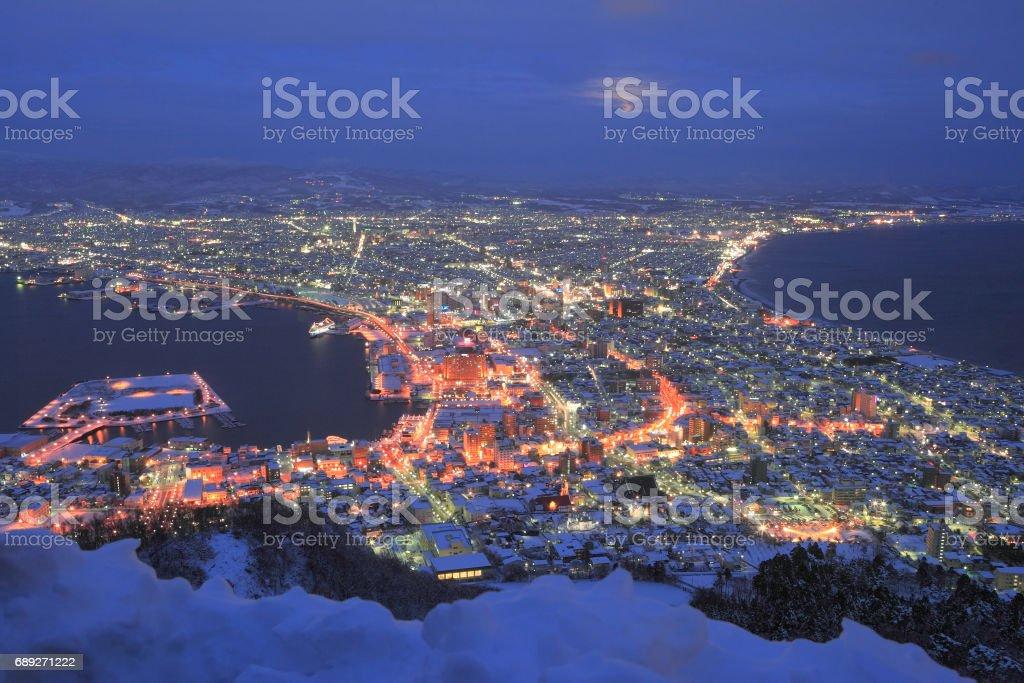 函館 冬 夜景 stock photo