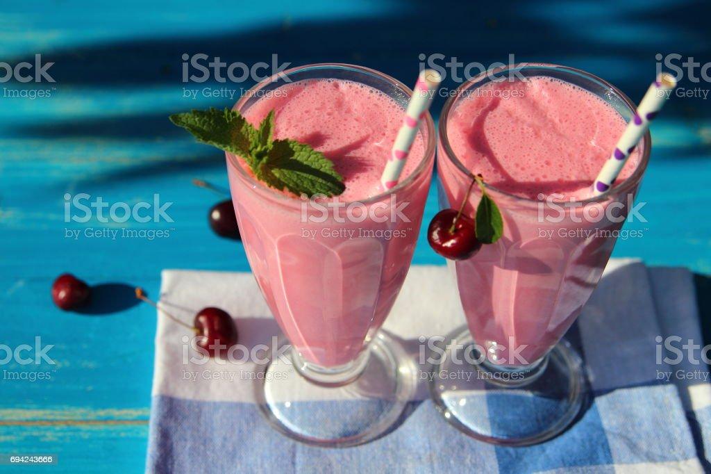 молочный коктейль с вишней stock photo