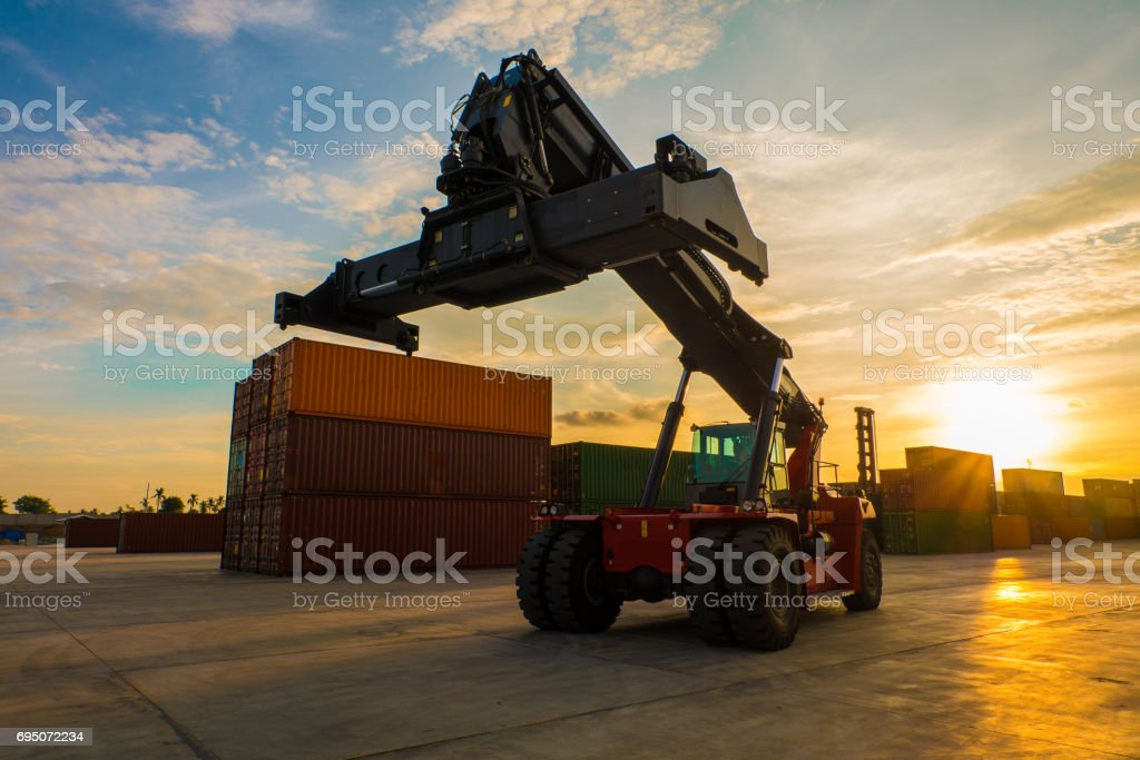 LIFT STACKER IN DEPOT stock photo