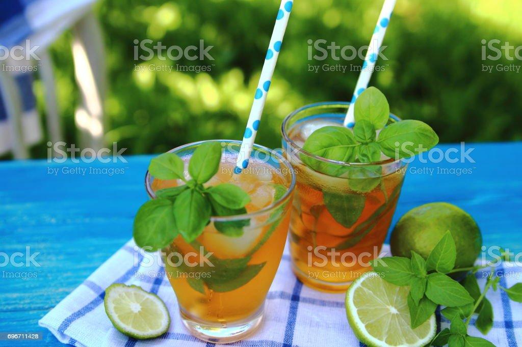 лимонад  с базиликом stock photo