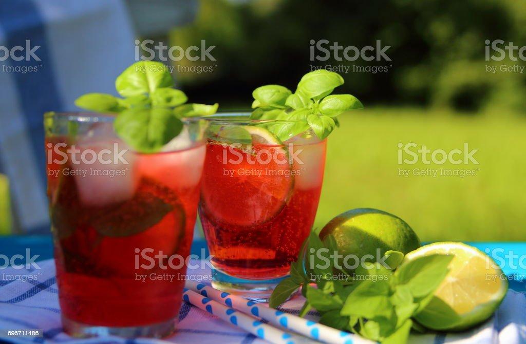 лимонад из клубники с базиликом stock photo