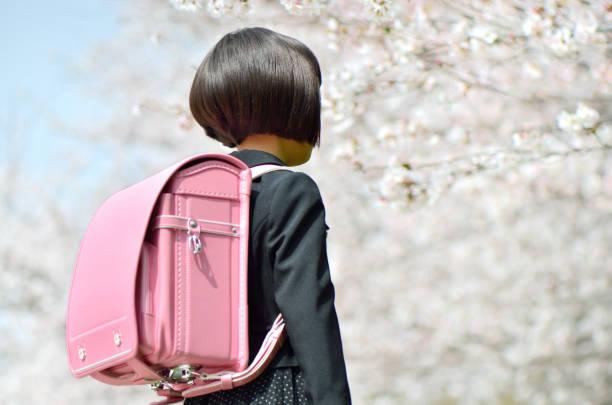 新一年生の女の子(桜、後姿) - 小学校 ストックフォトと画像