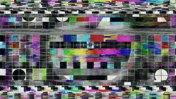 glitch! bad interference for tv digital test pattern - distorted image stock pictures, royalty-free photos & images