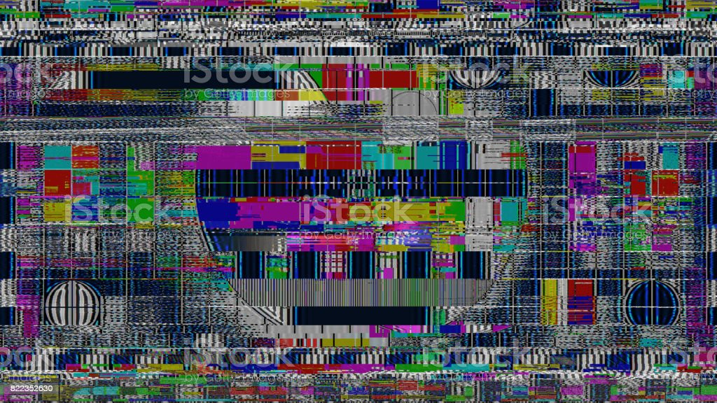 GLITCH! BAD INTERFERENCE FOR TV DIGITAL TEST PATTERN stock photo