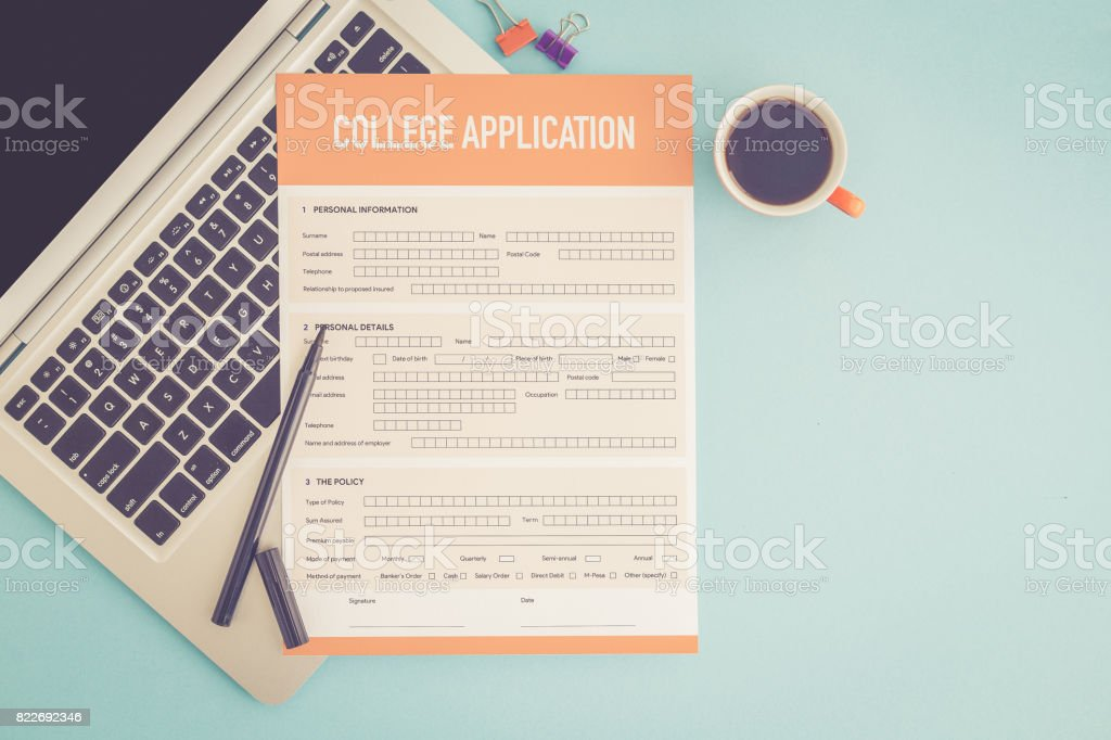 COLLEGE APPLICATION CONCEPT stock photo