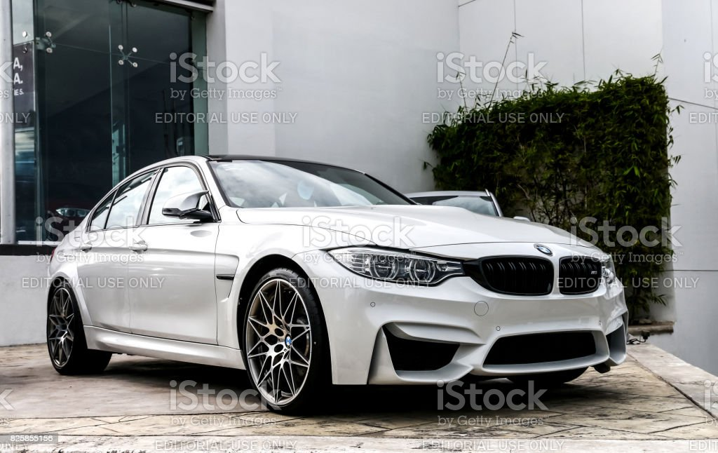 BMW M3 CANCUN, MEXICO - JUNE 4, 2017: Motor car BMW M3 (F80) in the city street. Aggression Stock Photo