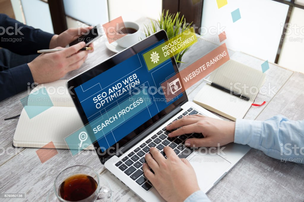 SEO AND WEB OPTIMIZATION CONCEPT stock photo