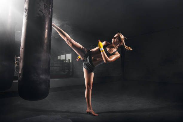 KIKBOXING GIRL stock photo
